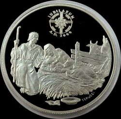 1999 Silver Andorra 10 Diners Birth Of Jesus 1st Christmas Proof Coin Capsule