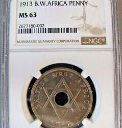 British West Africa One Penny 1913 Ngc Ms63