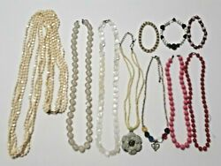 Old Vintage Necklaces And Bracelets. Squares Plastic Beads Off-white Pink