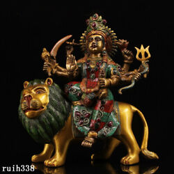 China Pure Copper Set Gemstone Color Painting Six Armed Lion Riding Guard Statue