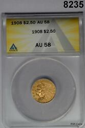 1908 2 1/2 Gold Indian Anacs Certified Au58 Nice 8235