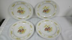 Domestications Easter Bunny Rabbit Dinner Plates 4 Yellow Flowers