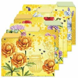 24 Floral Yellow Decorative Bee File Folders Set Documents Storage 6 Designs New