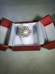 Cultured Pearl 14 Kt White Gold Diamond Ring