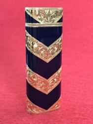 Roy King Gas Lighter V Pattern Navy Blue And Gold Engraving