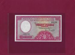National Commercial Bank Of Scotland 20 Pounds 1959 P-267 Vf+ England Uk