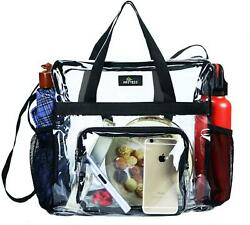 Clear Bag Stadium Approved Transparent Clear Tote Bag For Work Sports Games $20.47