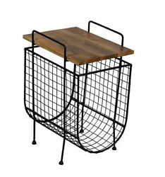 Indian Handicraft Iron Wooden Magazine Rack Cum Table For Home And Office Table