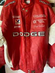 Nascar Bill Elliott Dodge Red And White Leather Jacket Vintage Chase Authentic X
