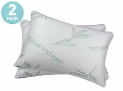 2 PACK Bamboo Shredded Memory Foam Bed Pillows Hypoallergenic Cover Queen Size
