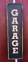 Antique Painted Wood Garage Sign Upstate Ny