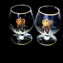 Pair Of French Cognac Glasses With The Gold Symbol Of The Crown Of Napoleon
