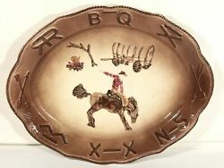 Rodeo Cowboy Themed Platter Embossed Display Ceramic Serving Plate Calif Usa