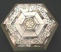 Vintage Mother Of Pearl Abalone Inlay Trinket Jewelry Box Hexagon Lined 7