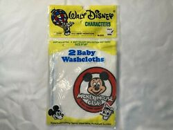 Vintage Mickey Mouse Club Washcloths Nos Mint In Package Disney 2 Towels 1971
