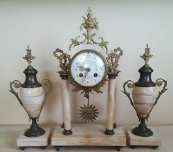 Antique French 3 Pc Marble Portico Striking Urn Clock Set
