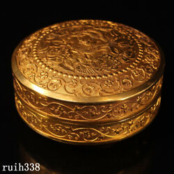 China The Qing Dynasty Carving Pure Copper Gilt Floral Pattern Jewelry Box