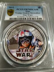 Young Anakin Skywalker Star Wars 2012 Niue 1oz Silver Proof Coin Pcgs Pr70 Dcam
