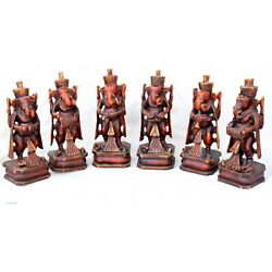 6 Pc Set Antique Style Wooden Musician Ganesha Figure Indian Instruments Music