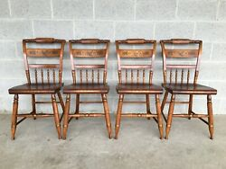 L. Hitchcock Maple Harvest Paint Decorated Inn Side Chairs - Set Of 4