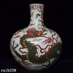 China Antique Ming Dynasty Red And Green Dragon Pattern Celestial Bottle