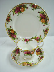 Royal Albert Old Country Roses Tea Cup Saucer Salad Plate Trio 1962 Mark England