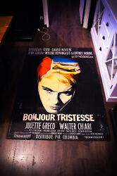 Hello, Sadness 4x6 Ft Vintage French Movie Poster Original 1958 Used
