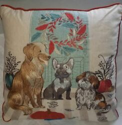 Pier One Autumn Pillow Cushion with Dogs and Pumpkins 16 x 16 NEW WITH TAGS