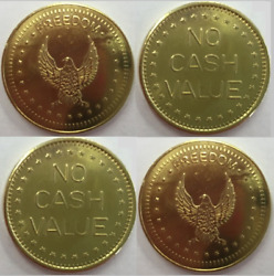 100 X Eagle Freedom Tokens No Cash Value For Coin Meters Timers 25mm X 1.5mm