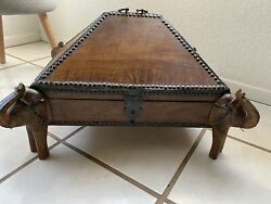Solid Wood Carved Chest Box Trunk With Elephant Legs. Oriental Open Close Rare