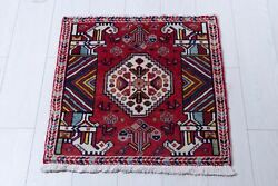 2and039x 2and039 Pair Small Vintage Rugs 2x2 Red Tribal Handmade Oriental Wool Carpet