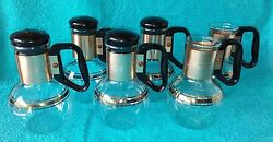 Carafe Beverage Decanters Coffee 4 Stoppers Glass Pots Tea 6.5 Warm 6 Vtg Small