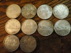 1965 Canadian Cad 1.00 Toned Silver Dollar Lot Of 10 Coins Ag Silver 6 Oz Total