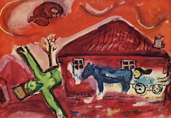1947 Chagall Religious Color Lithograph Suffering Limited Edition Signed Coa