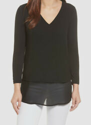New 149 Womenand039s Black Sheer V-neck Mixed-media Casual Top Size M