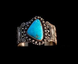 Native American Handcrafted Sterling Silver Bracelet W/kingman Turquoise