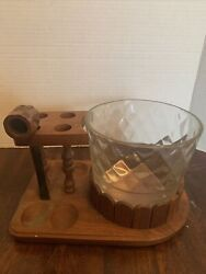 Vintage Wooden 4 Pipe Stand Holder With Glass Tobacco Jar Humidor No Lid, 1 Pipe