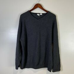 Field Gear Mens Xl Xlarge Grey Cashmere V-neck Pullover Sweater L/s C90