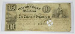 1839 10 Government Republic Of Texas Ten Dollar Note Bill Currency Item 27026f