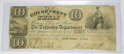 1839 10 Government Republic Of Texas Ten Dollar Note Bill Currency Item 27028f