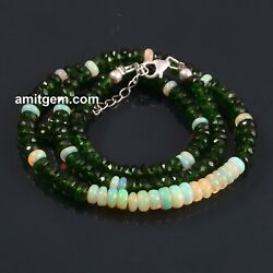 Ethiopian Opal Chrome Diopside Beads Necklace 925 Sterling Silver Lobster -131