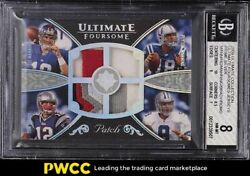2008 Ultimate Collection Ultimate Prime Tom Brady Peyton Manning Patch /20 Bgs 8