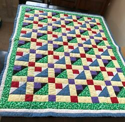 Patchwork Quilt Handmade Lap Size Colorful Cotton Fabrics Spinning Tops