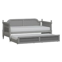 Hillsdale Furniture Melanie Wood And Cane Twin Daybed With Trundle French Gray