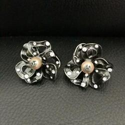 Authentic Flower Pearl Coco Mark Earrings About 3cm Used From Japan
