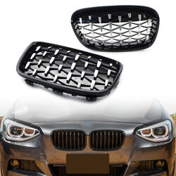Front Black Grille Chrome Diamond Meteor Latest Style Fit Bmw 1series F20 11-14