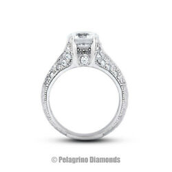 1.30ct F-vs2 Round Natural Diamonds 14kw Gold Vintage Style Sidestone Ring