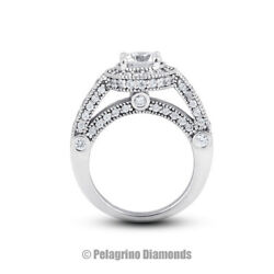 2.44 Ct E-si2 Round Cut Natural Certified Diamonds 18kw Gold Halo Sidestone Ring