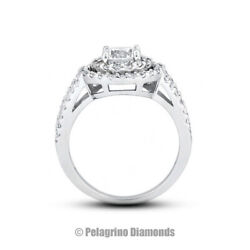 1.40ct G-si1 Round Earth Mined Certified Diamonds Platinum Halo Side-stone Ring
