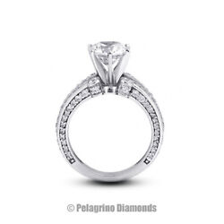 1.63ct G-si1 Round Natural Diamonds 18kw Gold Vintage Style Sidestone Ring